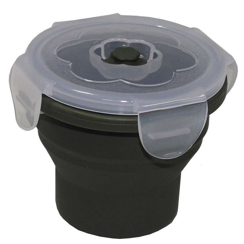 Сгъваема купичка за храна MFH Foldable Bowl, round, 240 ml, lockable lid, OD green