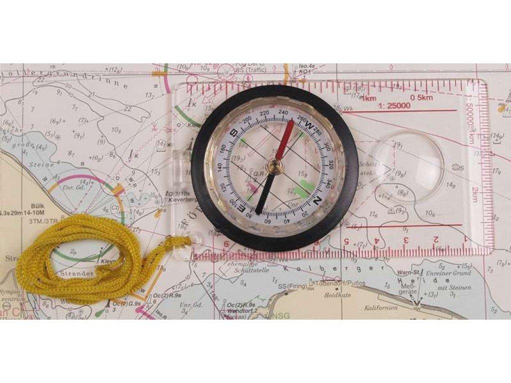 Картов компас, пластмасов корпус, лупа, устройство за измерване